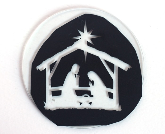 DIY Etched Nativity Ornament
