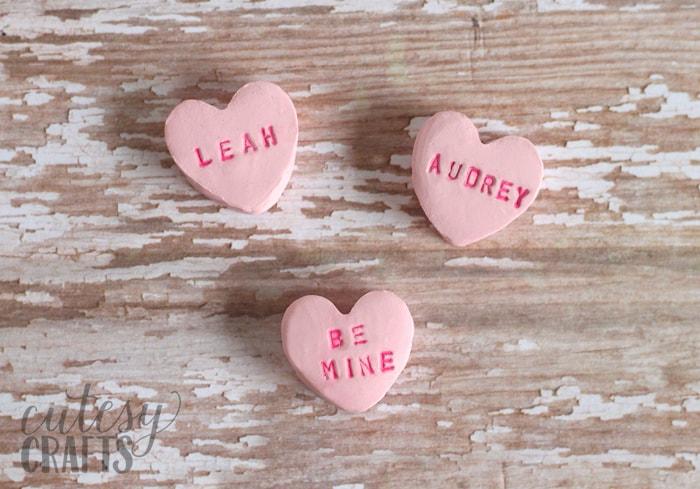 Clay conversation hearts