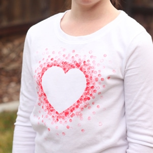 DIY Eraser-Stamped Valentine's Day Shirt