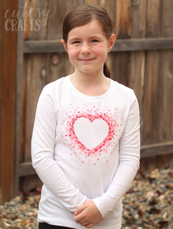 Eraser-Stamped Valentine's Day Shirt - Made with Freezer Paper and a pencil eraser!