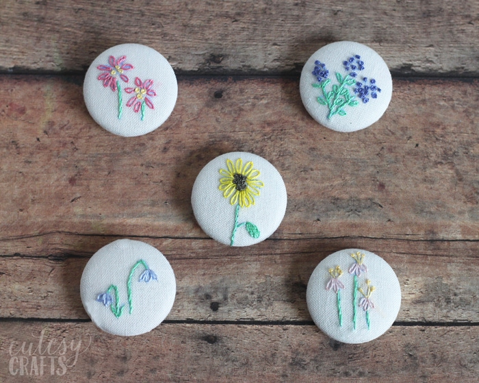 DIY Magnets with Flower Embroidery Patterns
