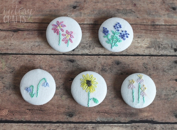 Free Embroidery Patterns - Flower Magnets