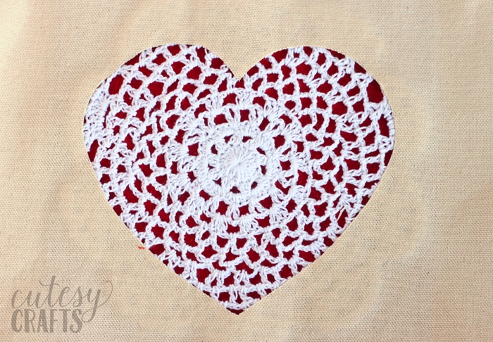Doily Heart DIY Tote Bag
