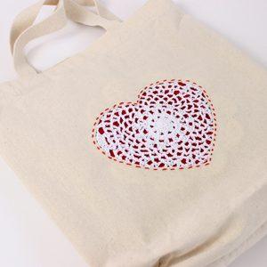 Doily Heart DIY Tote Bag