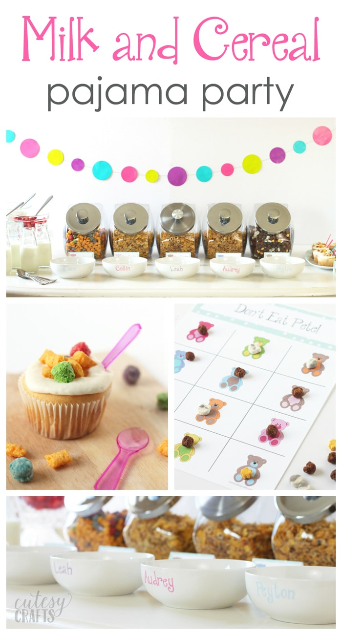 Adorable Milk and Cereal Pajama Party - Free food and invitation printables! #CerealAnytime #ad