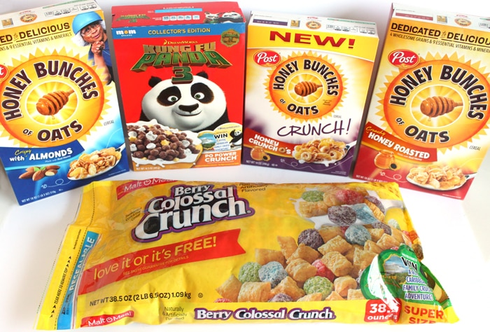 Post Cereal - Honey Bunches of Oats Cruch O's, Berry Colossal Crunch, Kung Fu Panda Cereal