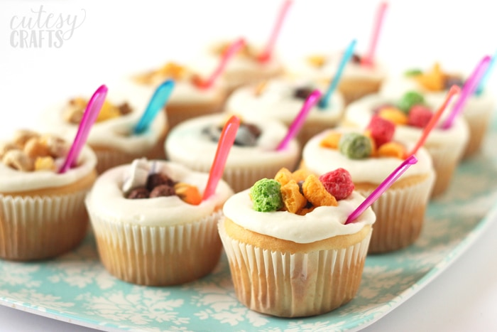 Bowl of Cereal Cupcakes - Perfect for a pajama party or slumber party!