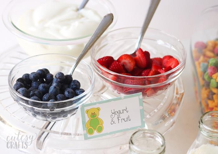 Fruit and yogurt at a pajama party.