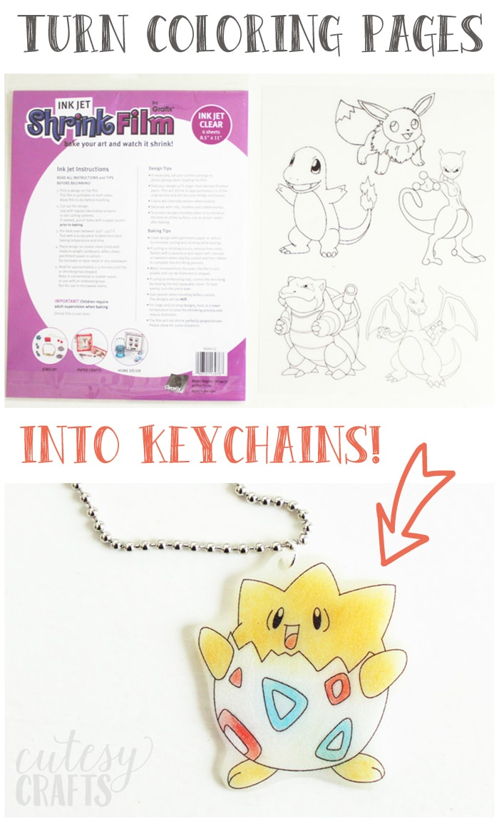 Pokemon birthday party craft shrinky dink keychains for Crafts to do at a birthday party
