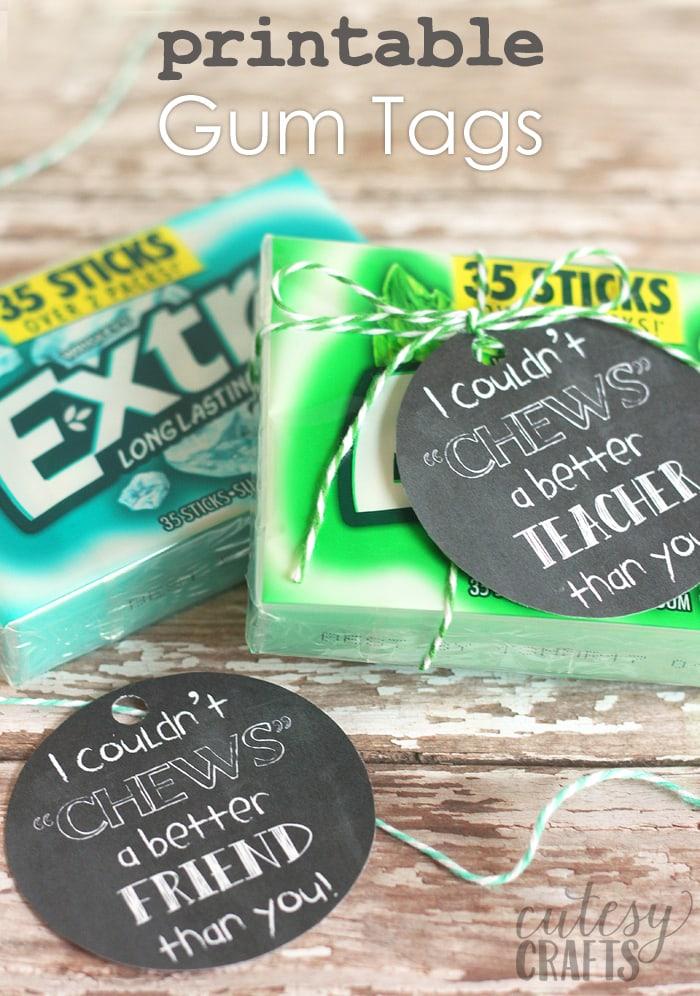 graphic about Extra Gum Teacher Appreciation Printable identify Gum Present Tag Printables - Cutesy Crafts