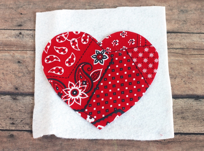 fabric and felt heart