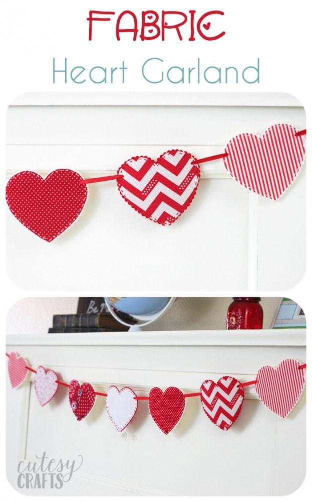 Fabric Heart Garland - A cute valentine craft idea!