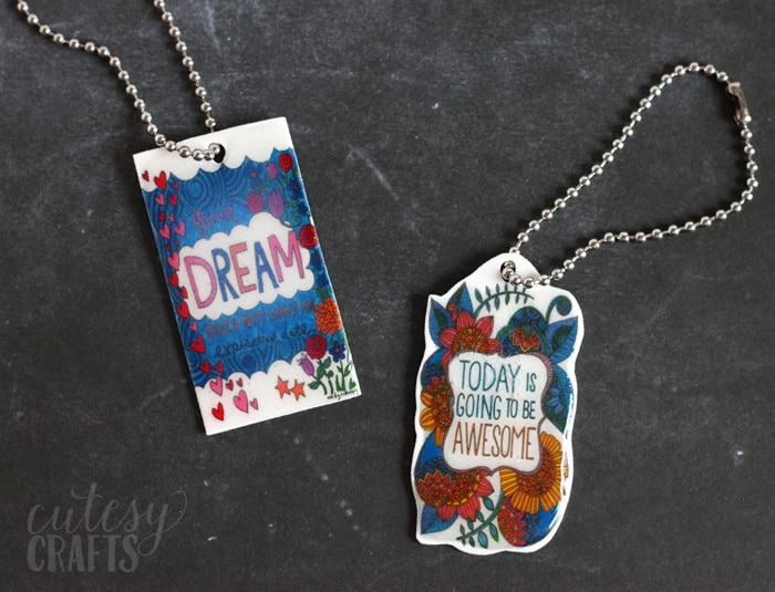 Turn your adult coloring pages into keychains!