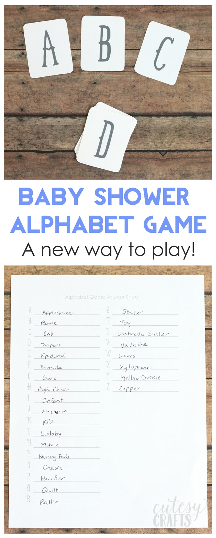 An new way to play the alphabet baby shower game! - Free printable cards!
