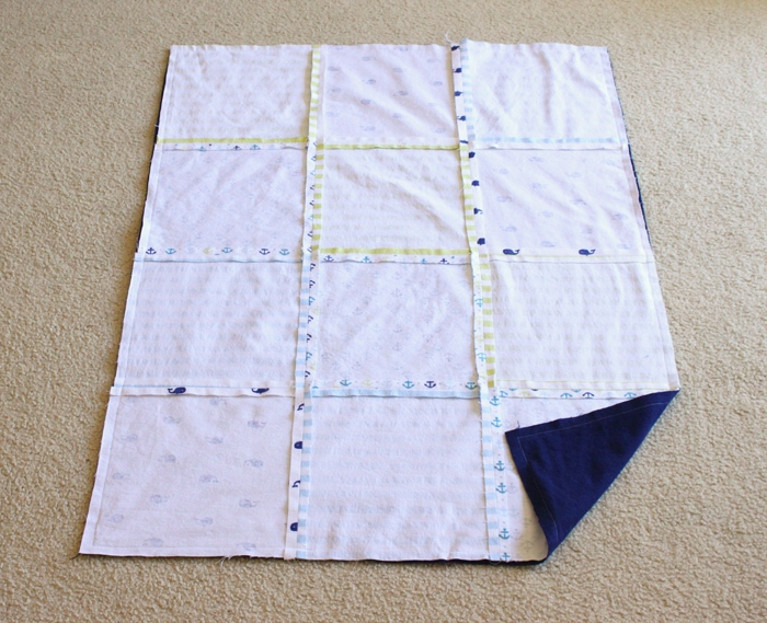 Make an easy baby quilt out of receiving blankets!