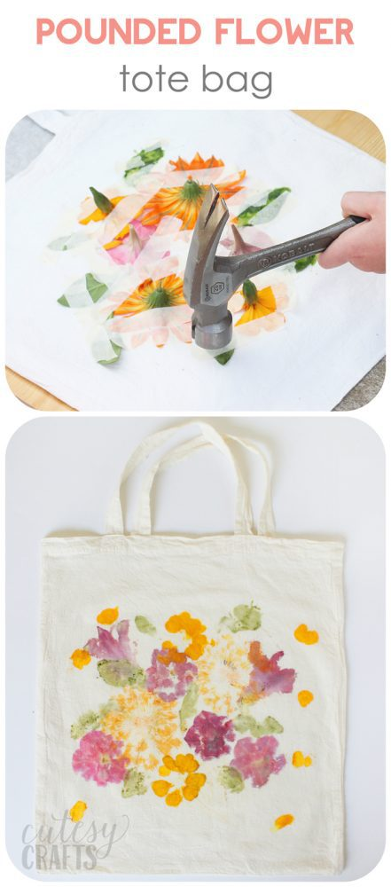 Keep the kids busy making a beautiful tote with dye from pounded flowers. It's so easy and lots of fun!