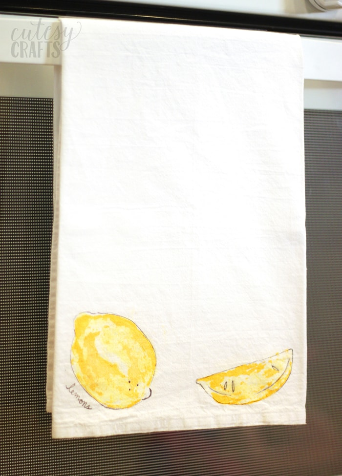 Fruit Stamped Tea Towel Craft