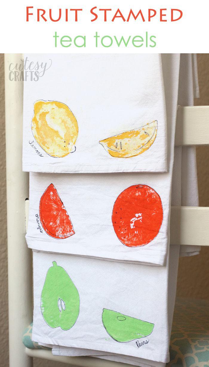 Fruit Stamped Tea Towel Craft