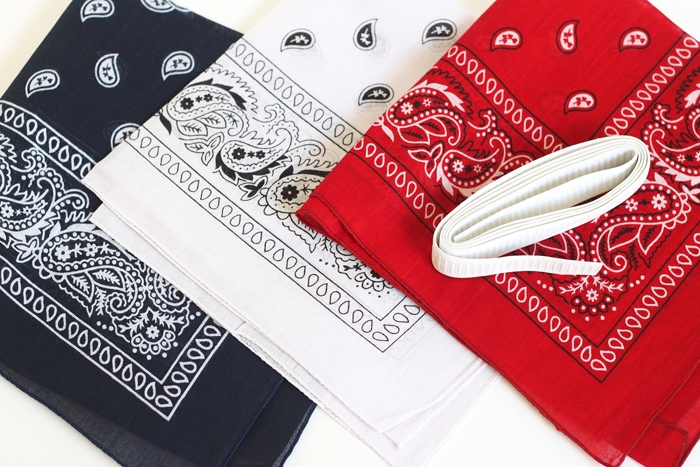 red, white and blue bandanas