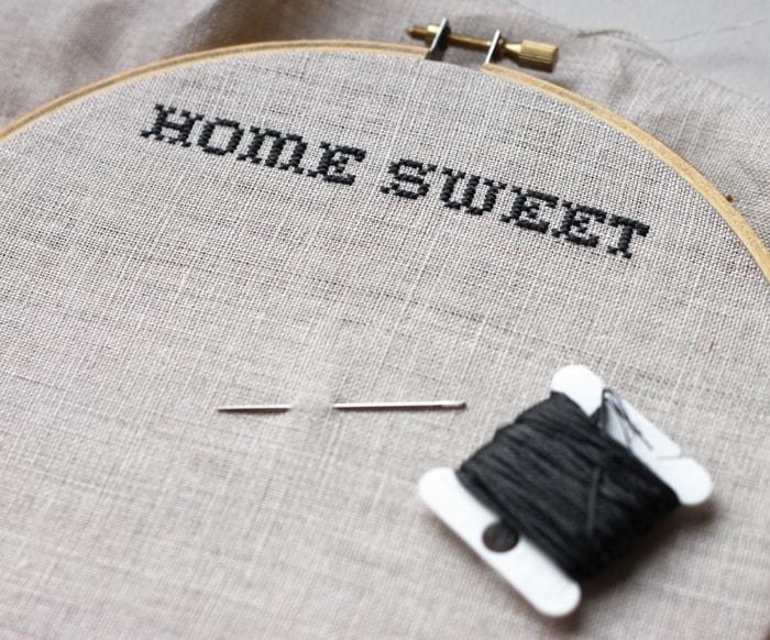 cross-stitching on linen