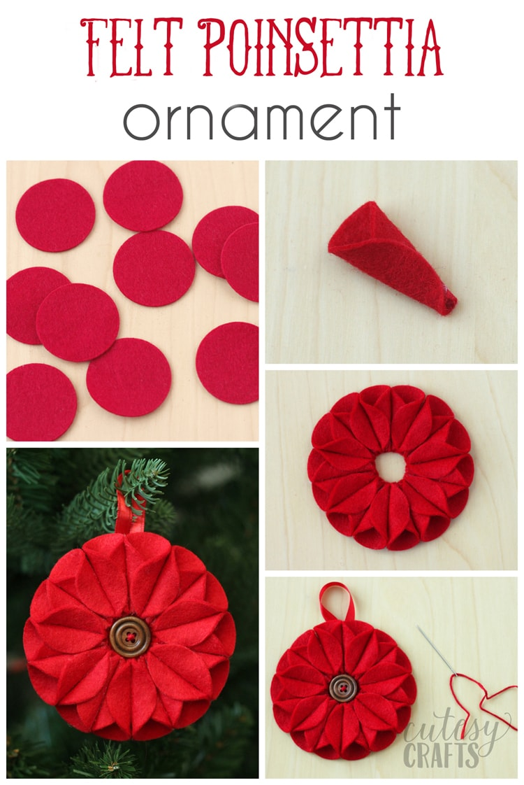 felt poinsettia christmas ornament cutesy crafts