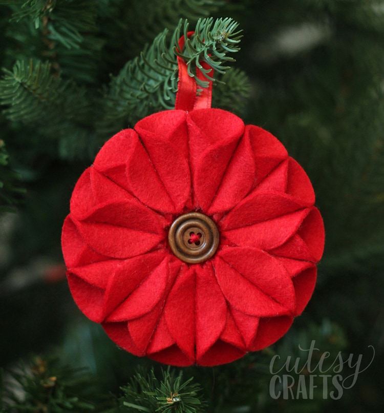 Felt Poinsettia Christmas Ornament