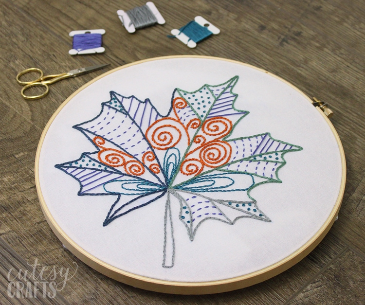 Free Embroidery Patterns - Fall Leaf