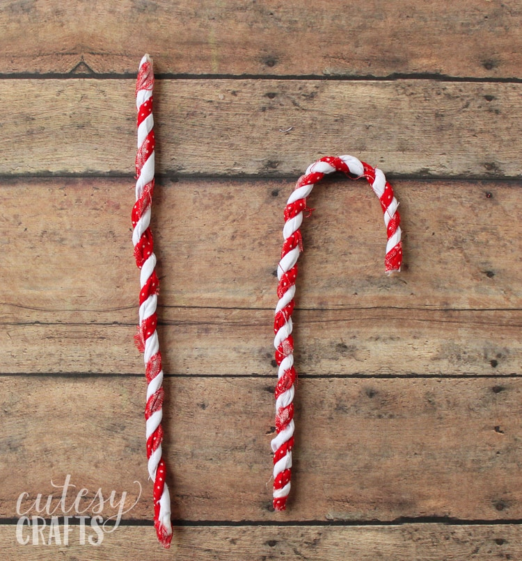 Fabric Scrap Candy Cane Ornaments
