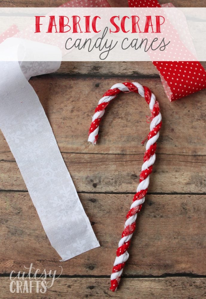Fabric Scrap Candy Cane Ornaments