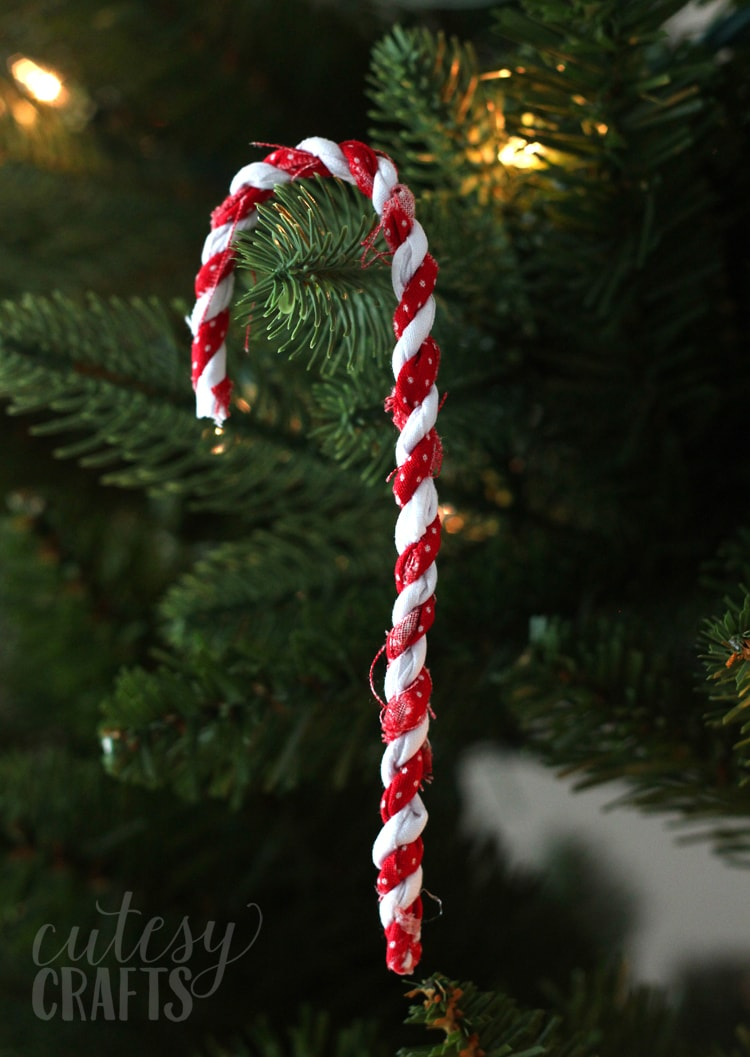 Fabric scrap candy cane ornaments cutesy crafts