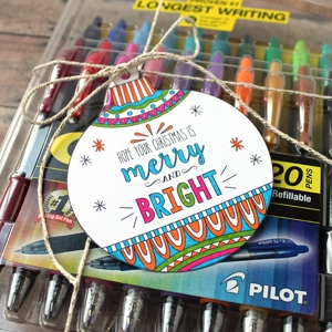 Printable Coloring Page Gift Tags with Pilot Pen