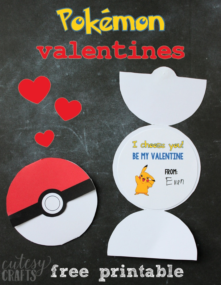 Witty image in pokemon valentine cards printable