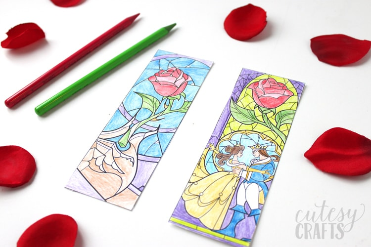 Free Beauty and the Beast coloring page bookmark printables!