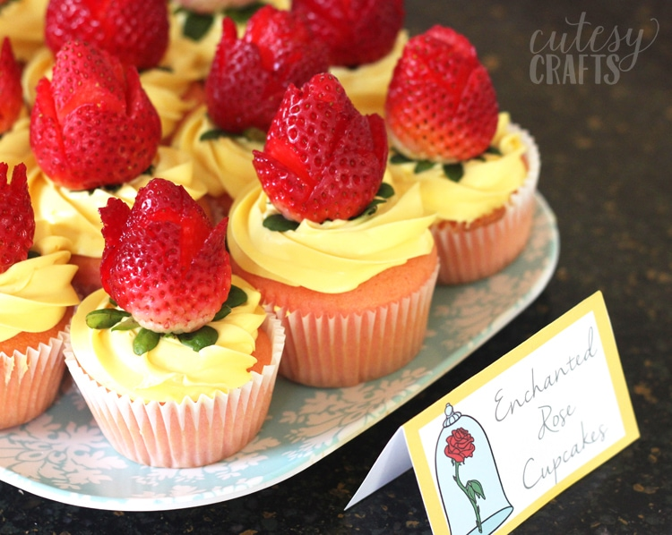 Beauty and the Beast Party Ideas - Strawberry Rose Cupcakes