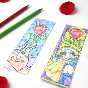 Beauty And The Beast Coloring Page Bookmarks Cutesy Crafts