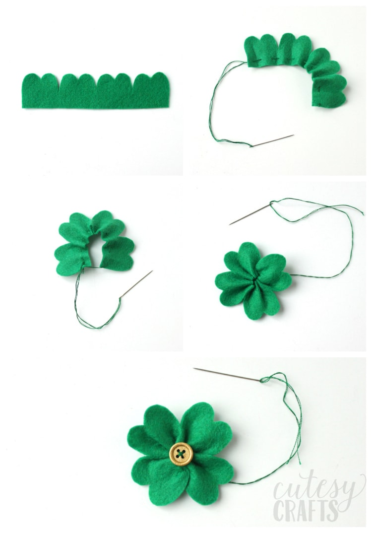 How to make a felt clover.