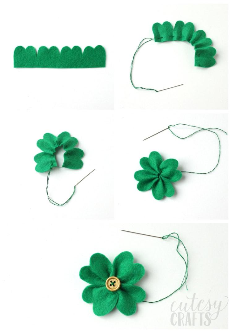 How to make a felt clover.