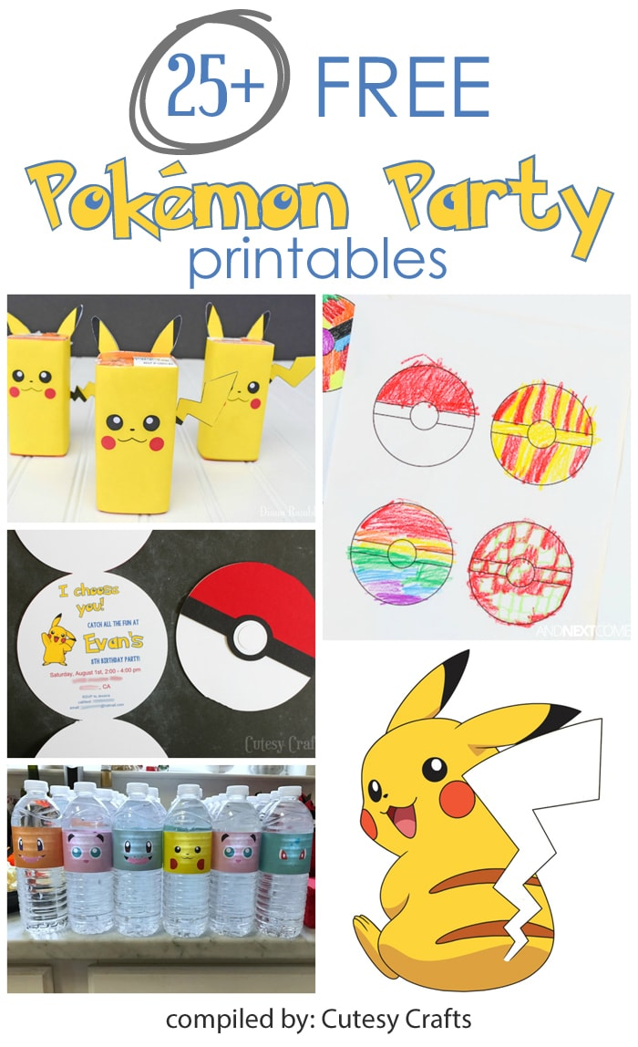 photo about Free Printable Pokemon referred to as 25+ Totally free Pokemon Get together Printables - Cutesy Crafts
