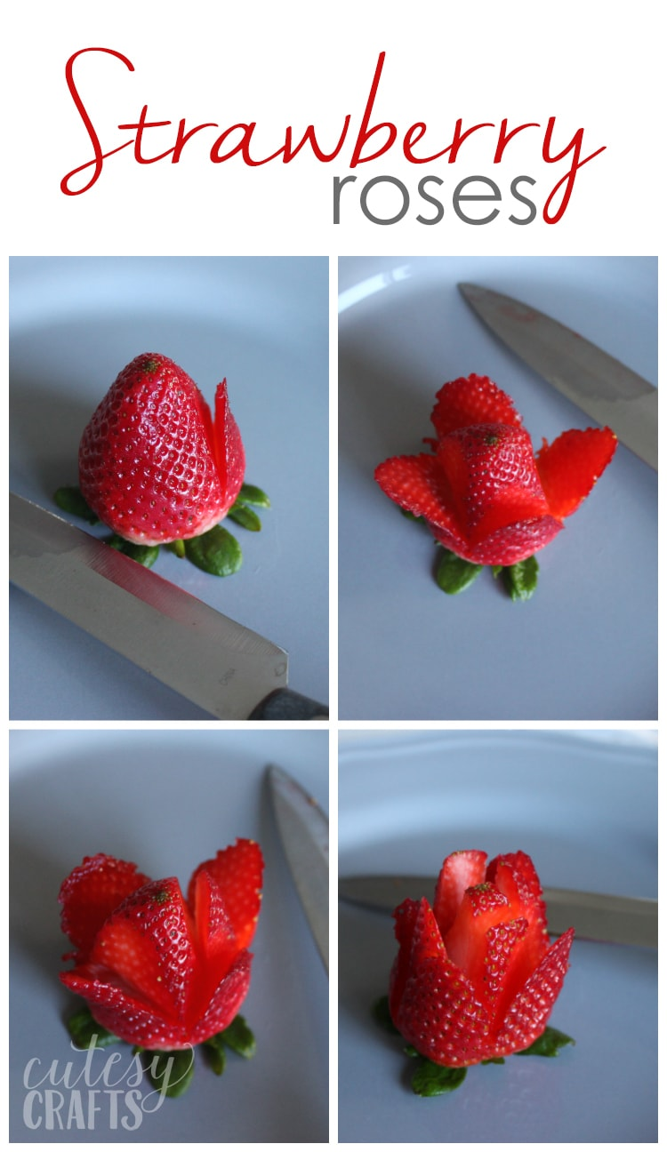 How to make strawberry roses.