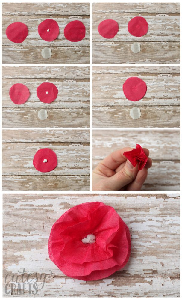 How to make tissue paper flowers.