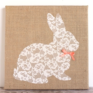 Easter Bunny Craft – Lace Bunny Canvas