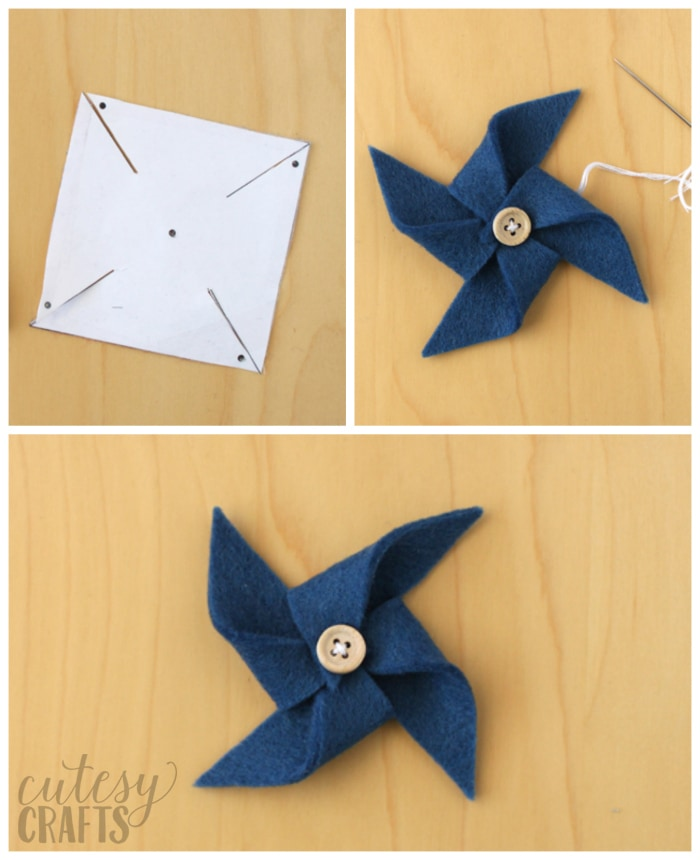 How to make felt pinwheels - Free pinwheel template.