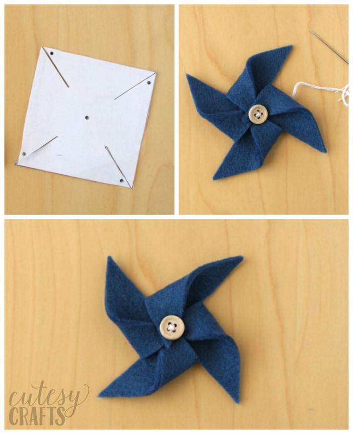 How to make felt pinwheels - Free pinwheel template.