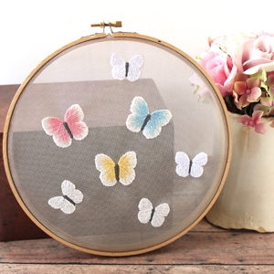 Butterfly Embroidery Hoop on Mesh