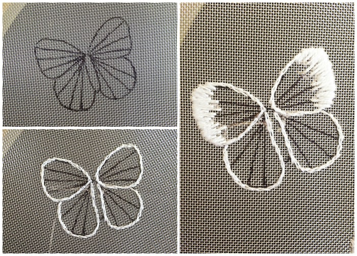 Long and short stitch butterflies on mesh.