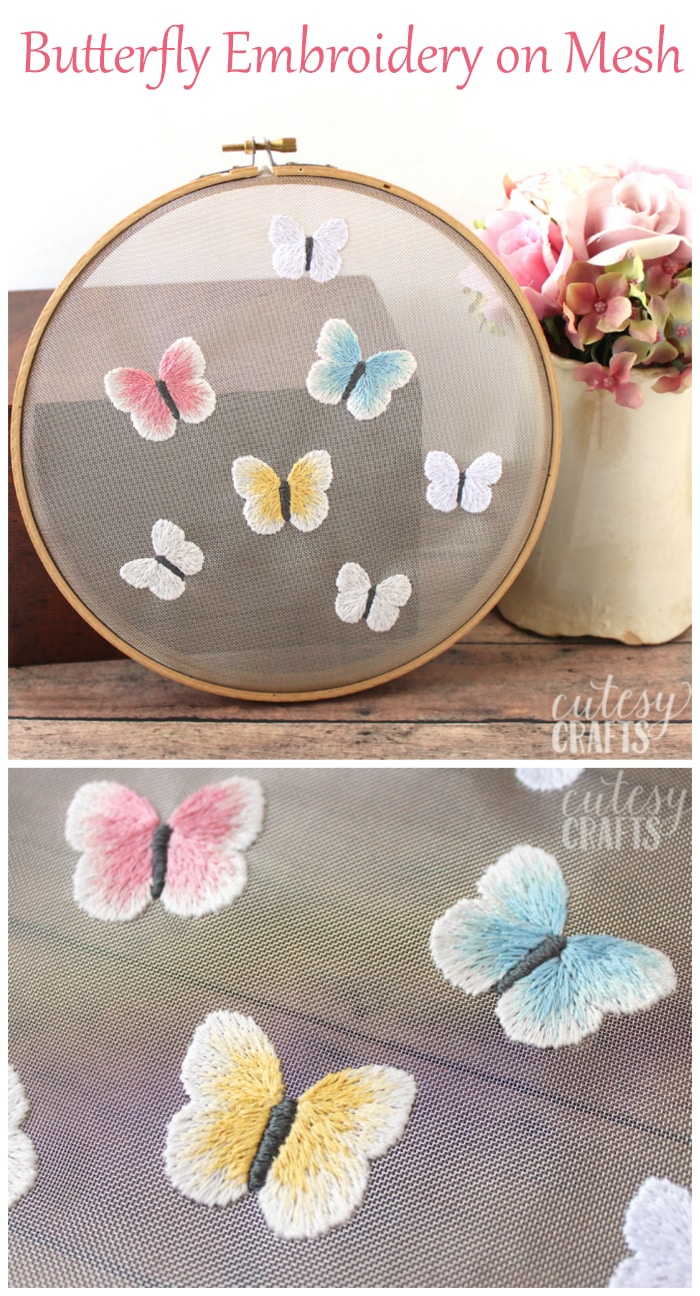 Butterfly Embroidery on Mesh - Free Pattern!