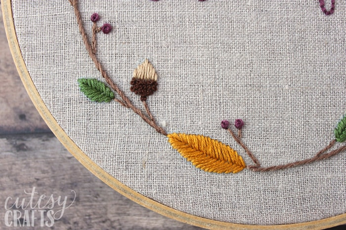 Embroidered Acorns