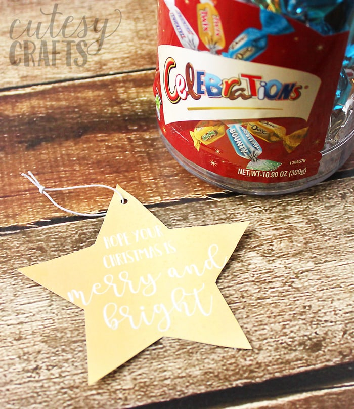 Merry and Bright printable gift tag