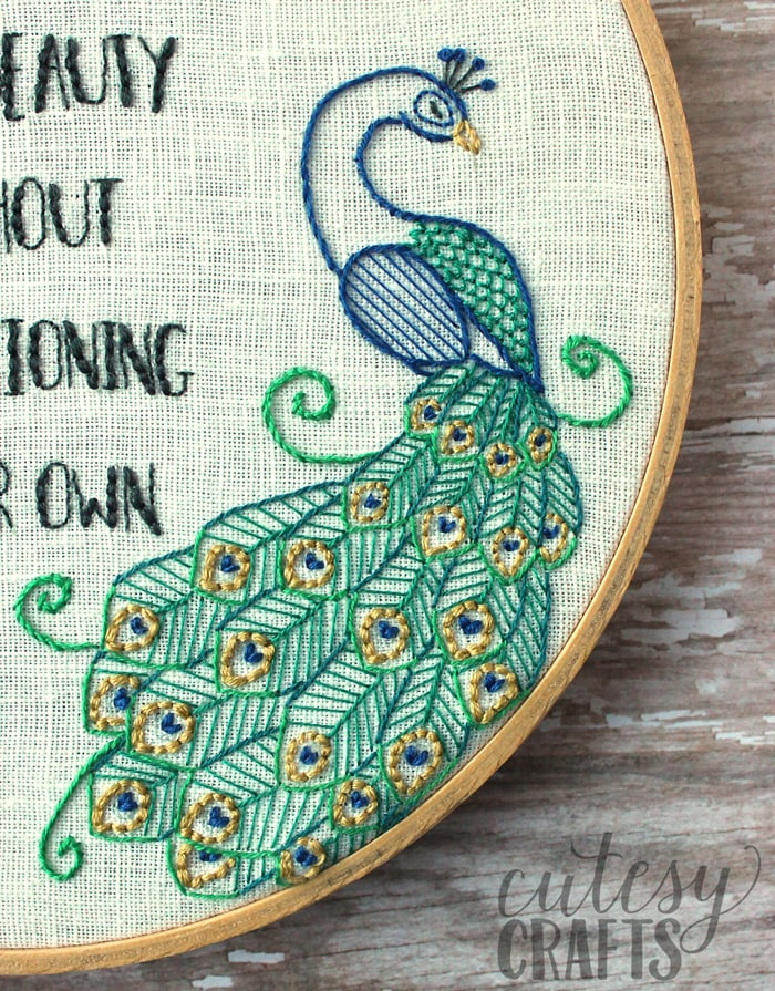 Flamingo and Peacock Embroidery Pattern