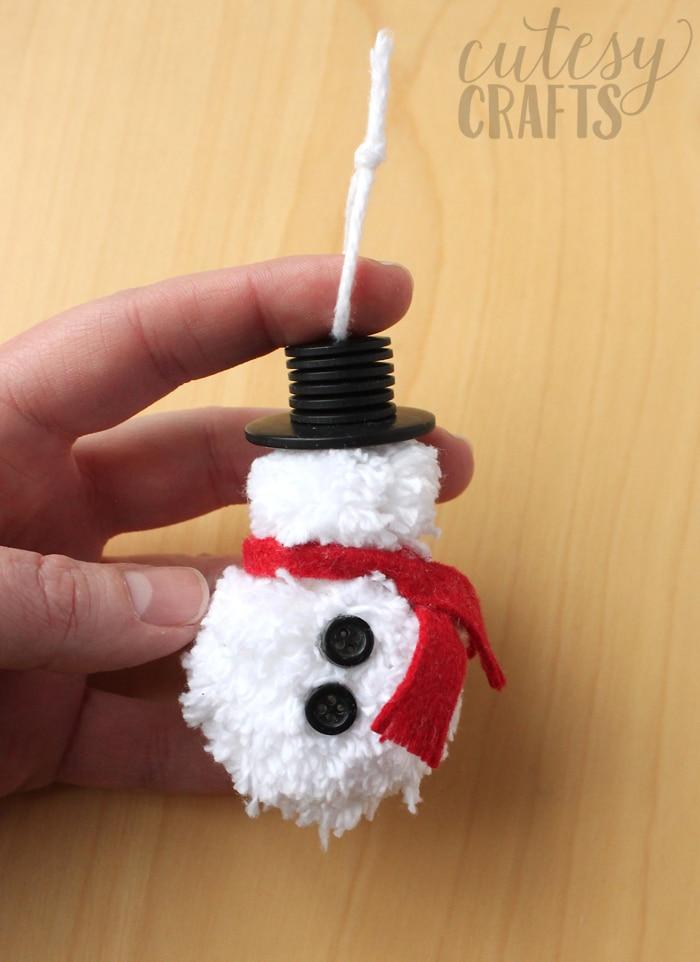 Pom Pom DIY Snowman Ornament